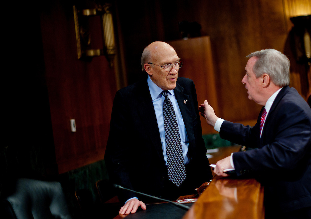 "Former Senator ALAN SIMPSON, (R-WY) chats with Senator DICK DURBIN (D-IL) following a Senate Judiciary Subcommittee hearing on Campaign Finance Reform and ""The Fair Elections Now Act: A Comprehensive Response to Citizens United."""