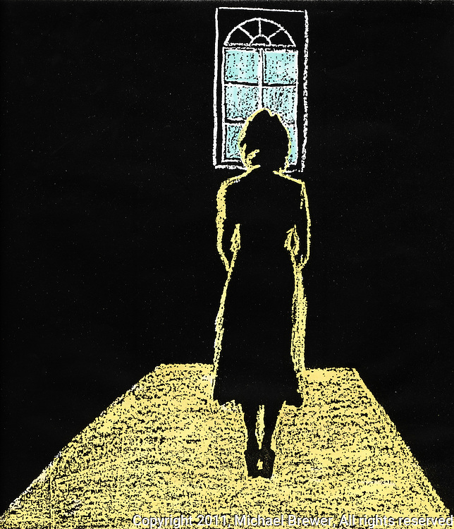 Lonely woman standing in a dark room, looking toward a small window of light.