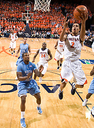 Virginia guard Mustapha Farrakhan (2) shoots a layup against UNC. The the #5 ranked North Carolina Tar Heels defeated the Virginia Cavaliers 83-61 in NCAA Basketball at the John Paul Jones Arena on the Grounds of the University of Virginia in Charlottesville, VA on January 15, 2009.