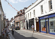 Historic buildings on High Street in old harbour area of Poole, Dorset, England, UK