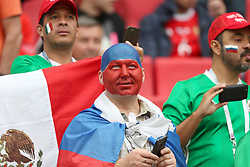 A Russia fan wearing face paint in the stands
