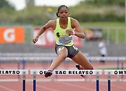 Apr 20, 2019; Torrance, CA, USA; Ajah Anderson of UPland places fourth in the sseded girls 300m hurdles in 46.26 during the 61st Mt. San Antonio College Relays at El Camino College.