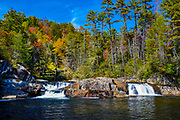 Autumn colors surround the Linville Falls in Linville, North Carolina.<br />