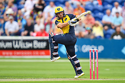 Jeremy Lawlor of Glamorgan in action<br /> <br /> Photographer Craig Thomas/Replay Images<br /> <br /> Vitality Blast T20 - Round 4 - Glamorgan v Middlesex - Friday 26th July 2019 - Sophia Gardens - Cardiff<br /> <br /> World Copyright © Replay Images . All rights reserved. info@replayimages.co.uk - http://replayimages.co.uk
