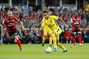 Neymar da Silva Santos Junior - Neymar Jr (PSG), Etienne DIDOT (En Avant De Guingamp) during the French championship L1 football match between EA Guingamp v Paris Saint-Germain, on August 13, 2017 at the Roudourou stadium in Guingamp, France - Photo Stephane Allaman / ProSportsImages / DPPI
