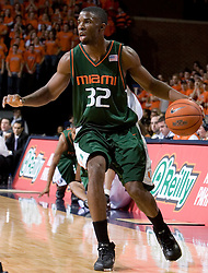 Miami Hurricanes guard/forward Brian Asbury (32) in action against Virginia.  The University of Virginia Cavaliers defeated the Miami Hurricanes Men's Basketball Team 81-70 at the John Paul Jones Arena in Charlottesville, VA on February 3, 2007.