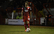 Lyle Della-Verde looks for options during the Sky Bet League 2 match between Crawley Town and Newport County at the Checkatrade.com Stadium, Crawley, England on 1 March 2016. Photo by Michael Hulf.