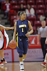 26 March 2009: Angel Robinson. The Redbirds of Illinois State narrowly escape the talons of the Golden Eagles of Marquette during a Women's National Invitational sweet 16 game on Doug Collins Court inside Redbird Arena in Normal Illinois.