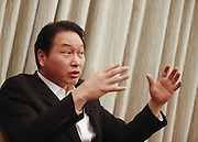 Chairman & CEO of SK Holdings, SK Innovation and SK Hynix, Chey Tae-won, a former SK Group chairman and still a major shareholder of the group, speaks during an interview in Seoul, January 27, 2013. Photo by Lee Jae-Won (SOUTH KOREA)  www.leejaewonpix.com