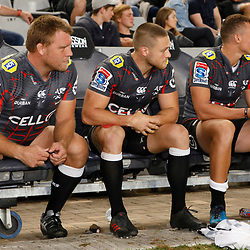 Ross Geldenhuys of the Cell C Sharks with Cameron Wright of the Cell C Sharks and Curwin Bosch of the Cell C Sharks during the Super rugby match between the Cell C Sharks and the DHL Stormers at Jonsson Kings Park ,Durban,South Africa.20,04,2018 (Photo by AL NICOLL -Steve Haag Sports)