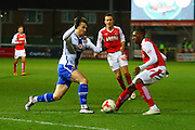 Fleetwood Town Defender Amari'i Bell challenges Walsall FC forward Tom Bradshaw during the Sky Bet League 1 match between Fleetwood Town and Walsall at the Highbury Stadium, Fleetwood, England on 15 March 2016. Photo by Pete Burns.