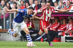 30.04.2011, Allianz Arena, Muenchen, GER, 1.FBL, FC Bayern Muenchen vs FC Schalke 04 , im Bild  Kyriakos Papadopoulos (Schalke #14) stoppt Franck Ribery (Bayern #7) , EXPA Pictures © 2011, PhotoCredit: EXPA/ nph/  Straubmeier       ****** out of GER / SWE / CRO  / BEL ******