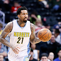06 March 2017: Denver Nuggets forward Wilson Chandler (21) brings the ball up court during the Denver Nuggets 108-96 victory over the Sacramento Kings, at the Pepsi Center, Denver, Colorado, USA.