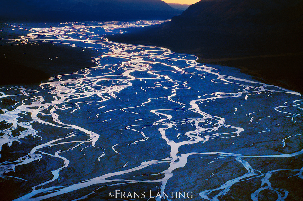 River channels (aerial), Chitina Valley, Wrangell St. Elias National Park, Alaska