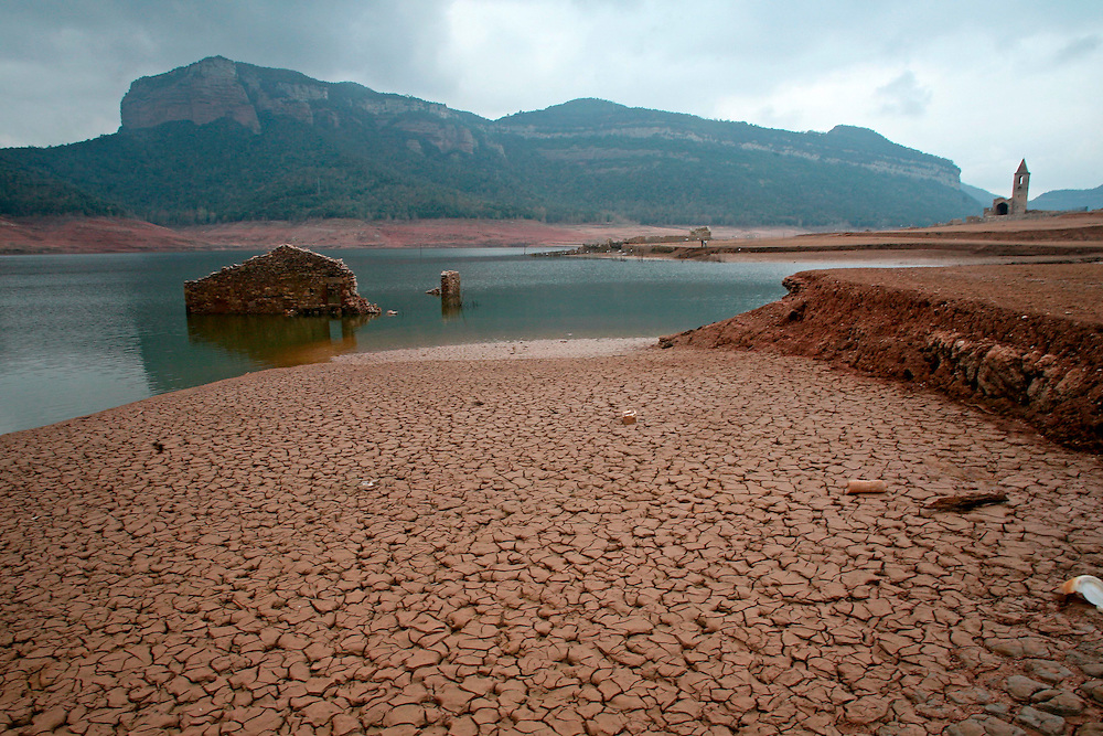 2008. Extreme drought in Catalonia. Visible ruins before covered by the water in the marsh of Sau (Osona, Catalonia. Spain)  due to the lack of rain in the last months.