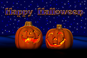Halloween Greeting with two Pumpkins, starry night sky