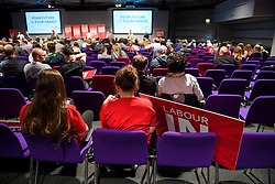 © Licensed to London News Pictures. 14/05/2016. London, UK.  Rows of empty seats as Leader of the Labour Party, JEREMY CORBYN leads a rally to remain in the EU at the QE2 centre in Westminster, London. Campaigning for the  EU referendum is due to step up a gear over the weekend as key figures from both sides of the debate will be campaigning over weekend to try to win votes. Photo credit: Ben Cawthra/LNP