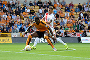 Kortnrey Hause shields the ball from Karlan Ahearne-Grant during the Sky Bet Championship match between Wolverhampton Wanderers and Charlton Athletic at Molineux, Wolverhampton, England on 29 August 2015. Photo by Alan Franklin.