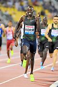 Emmanuel Kipkurui Korir aka Emmanuel Korir (KEN) wins the 800m in 1:45.21  in the 2018 IAAF Doha Diamond League meeting at Suhaim Bin Hamad Stadium in Doha, Qatar, Friday, May 4, 2018. (Jiro Mochizuki/Image of Sport)