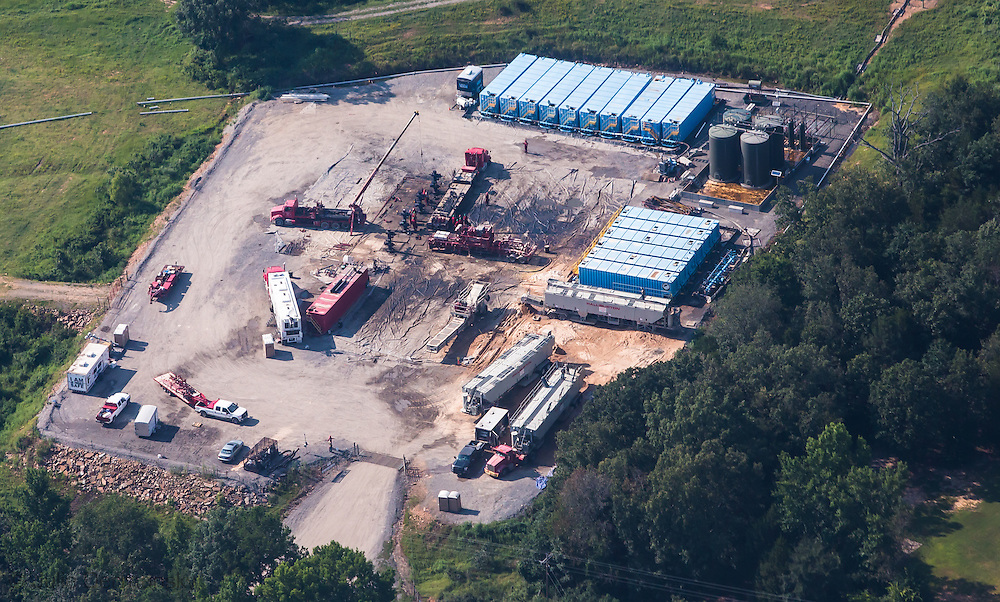 A frack job in progress in Quitman, Arkansas in Faulkner County which sits on top of the Fayetteville Shale