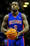 Feb. 9, 2011; Cleveland, OH, USA; Detroit Pistons point guard Rodney Stuckey (3) during the third quarter against the Cleveland Cavaliers at Quicken Loans Arena. The Pistons beat the Cavaliers 103-94 for Cleveland's 26th loss in a row. Mandatory Credit: Jason Miller-US PRESSWIRE