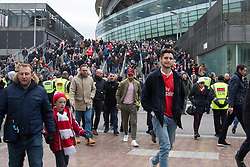 London, November 6th 2016. Football fans leave the Emirates Stadium after the North London Derby between Arsenal FC and Tottenham Hotspur, that ended in a 1-1 draw.