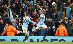 File photo dated 06-05-2019 of Manchester City's Vincent Kompany (right) celebrates scoring his side's first goal of the game against Leicester City during the Premier League match at the Etihad Stadium, Manchester.