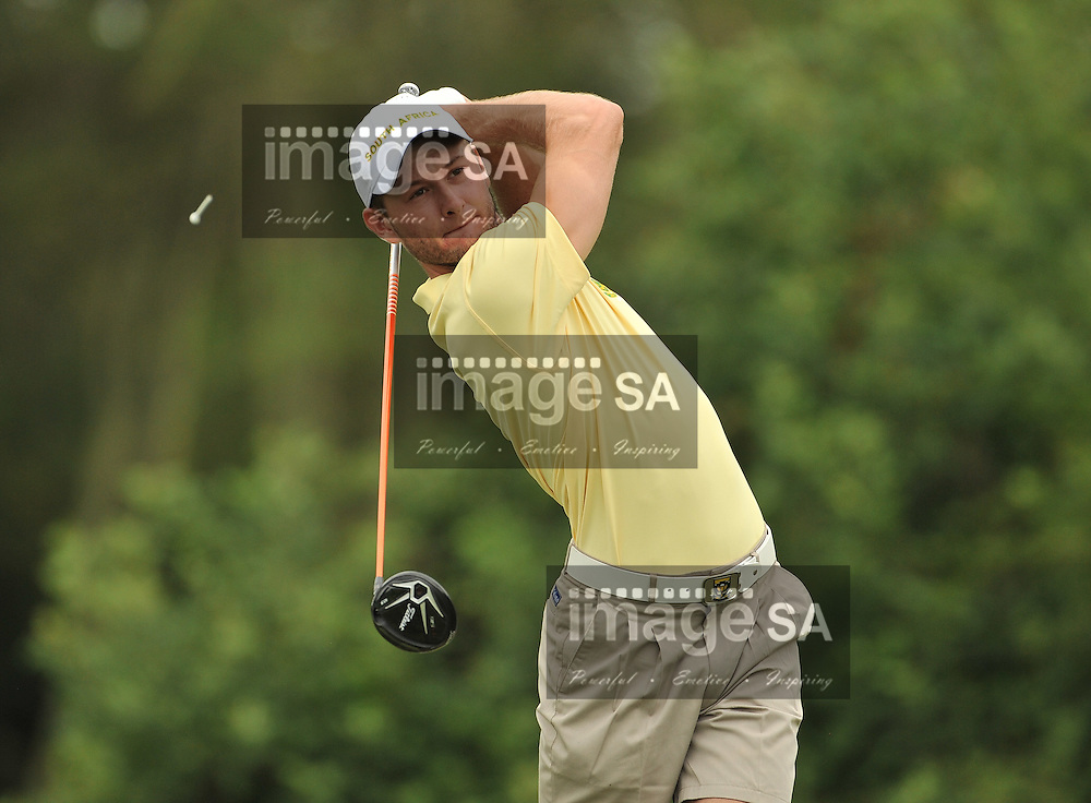 MALELANE, SOUTH AFRICA - Wednesday 18 February 2015, Teaghan Gauche of South Africa tees off on the 4th during the first round foursomes of the annual Leopard Trophy, a two day test between teams of the South African Golf Association and the Scottish Golf Union, at the Leopard Creek Golf Estate.<br /> Photo Roger Sedres/ Image SA