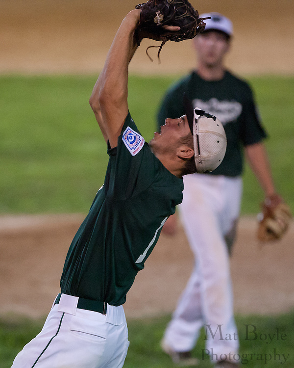 West Deptford's first-baseman Tommy Jakubowski catches an infield pop-up during the opening round of the Mid-Atlantic Senior League regional tournament held in West Deptford on Friday, August 5.