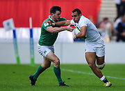 England centre Joe Marchant hands off during the World Rugby U20 Championship Final   match England U20 -V- Ireland U20 at The AJ Bell Stadium, Salford, Greater Manchester, England onSaturday, June 25, 2016. (Steve Flynn/Image of Sport)