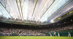 LONDON, ENGLAND - Thursday, June 28, 2012: Lukas Rosol (CZE) under the closed centre court roof during the Gentlemen's Singles 2nd Round  match on day four of the Wimbledon Lawn Tennis Championships at the All England Lawn Tennis and Croquet Club. (Pic by David Rawcliffe/Propaganda)