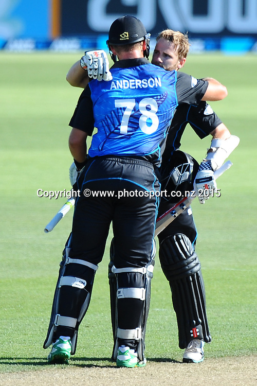 Black Cap player Kane Williamson celebrates his ODI century with Cory Anderson during Match 4 of the ANZ One Day International Cricket Series between New Zealand Black Caps and Sri Lanka at Saxton Oval, Nelson, New Zealand. Tuesday 20 January 2015. Copyright Photo: Chris Symes/www.Photosport.co.nz