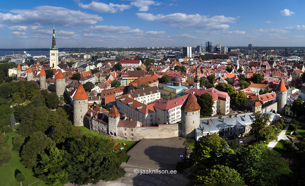Aerial view of medieval Tallinn old town in Estonia. Town wall, old buildings with towers.