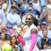 2016 U.S. Open - Day 6  Serena Williams of the United States hits balls in to the crowd after her victory against Johanna Larsson of Sweden in the Women's Singles round three match on Arthur Ashe Stadium on day six of the 2016 US Open Tennis Tournament at the USTA Billie Jean King National Tennis Center on September 3, 2016 in Flushing, Queens, New York City.  (Photo by Tim Clayton/Corbis via Getty Images)