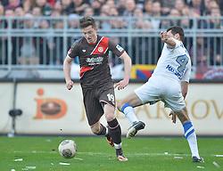 Football: Germany, 2. Bundesliga, 15.02.2014<br />Michael Gregoritsch (FC St. Pauli, #19) vs Marcel Maltritz (VfL Bochum, #4)<br />© pixathlon