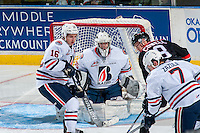KELOWNA, CANADA - SEPTEMBER 24: Carter Phair #35 of the Kamloops Blazers defends the net against the Kelowna Rockets on September 24, 2016 at Prospera Place in Kelowna, British Columbia, Canada.  (Photo by Marissa Baecker/Shoot the Breeze)  *** Local Caption *** Carter Phair;
