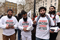 Muslim anti-fascists demonstrated in Whitehall today as Pegida (Patriotic Europeans against the Islamisation of the West) held a rally. Feb 2016 UK