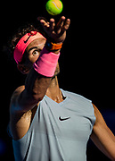 MELBOURNE, VIC - JANUARY 17: Rafael Nadal of Spain serves in his second round match during the 2018 Australian Open on January 17, 2018, at Melbourne Park Tennis Centre in Melbourne, Australia. (Photo by Jason Heidrich/Icon Sportswire)MELBOURNE, VIC - JANUARY 17: