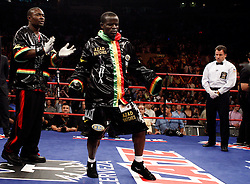 June 13, 2009; New York, NY, USA;  Joshua Clottey enters the ring for his bout against WBO Welterweight Champion Miguel Cotto at Madison Square Garden.  Cotto retained his title via split decision.