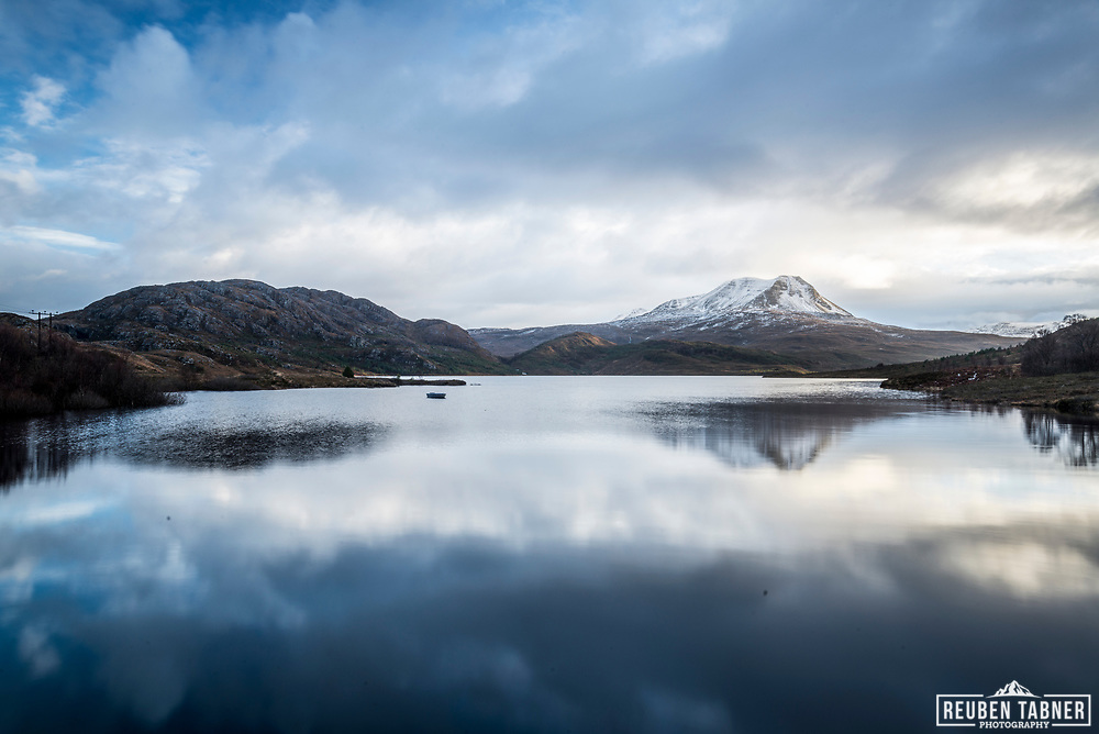Looking across the water of Loch Bad na Sgalag Dam towards Baosbheinn on a cold winters day.