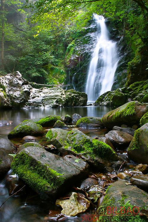 Xorroxin waterfall.<br /> Erratzu village. Baztan Valley, Navarre, Spain.