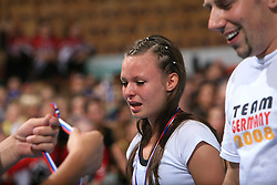 Second best couple in Partner Stunt: Julia Goehler & Christian Holzleiter, Germany (2nd place) during final ceremony at second day of European Cheerleading Championship 2008, on July 6, 2008, in Arena Tivoli, Ljubljana, Slovenia. (Photo by Vid Ponikvar / Sportal Images).