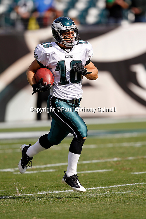 Philadelphia Eagles wide receiver Chad Hall (16) returns a practice punt during pregame warmups during the NFL week 6 football game against the Atlanta Falcons on Sunday, October 17, 2010 in Philadelphia, Pennsylvania. The Eagles won the game 31-17. (©Paul Anthony Spinelli)