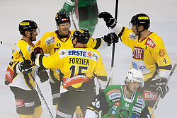 06.09.2012. Hala Tivoli, Ljubljana, SLO, EBEL, HDD Telemach Olimpija Ljubljana vs UPC Vienna Capitals, 01. Runde, in picture Players of UPC Vienna Capitals celebrate scoring a goal during the Erste Bank Icehockey League 1st Round match betweeen HDD Telemach Olimpija Ljubljana and UPC Vienna Capitals at the Hala Tivoli, Ljubljana, Slovenia on 2012/09/06. (Photo By Matic Klansek Velej / Sportida)