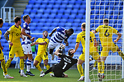 GOAL 1-0 Reading midfielder Yakou Meite (11) scores with a header during the EFL Sky Bet Championship match between Reading and Barnsley at the Madejski Stadium, Reading, England on 19 September 2020.