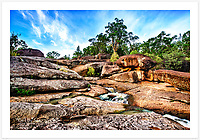 Early on a summer morning at Goonoowigall Falls, Goonoowigall State Conservation Area [Inverell, NSW]. <br /> <br /> Read about this photo shoot on the Blog: <br /> https://girtbyseaphotography.com/goonoowigall-escapades/<br /> <br /> To purchase please email orders@girtbyseaphotography.com quoting the image number PB400903, and your preferred print size. You will receive a quick reply recommending print media options to best suit your chosen image, plus an obligation-free quotation. Current standard size prices are published on the Pricing page.