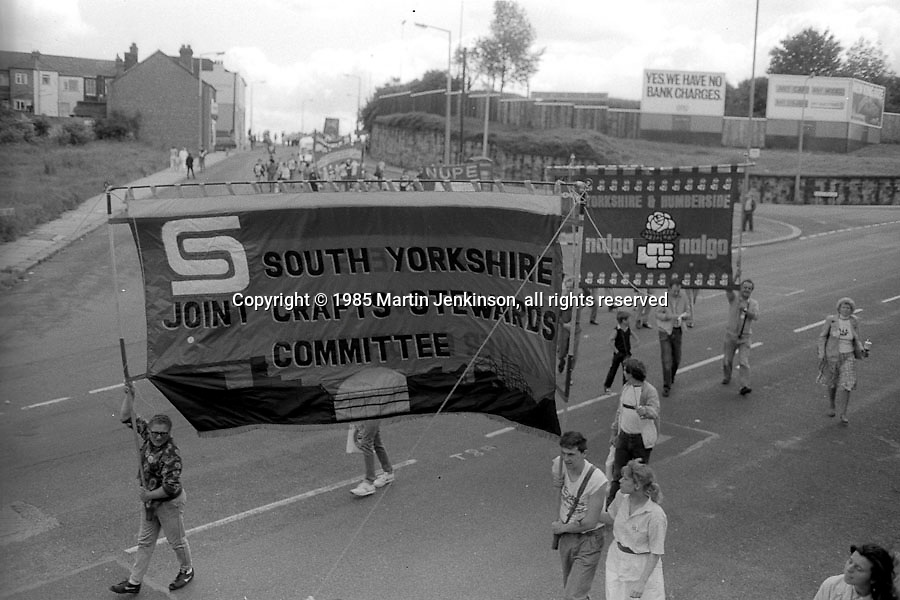 South Yorkshire Joint Crafts Stewards Committee banner, 1985 Yorkshire Miner's Gala. Rotherham.