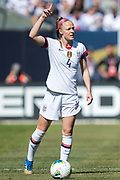 USA defender Becky Sauerbrunn (4) prepares for a free kick during an international friendly against South Korea in Chicago, Sunday, Oct. 6, 2019, in Chicago. USWNT tied the Korea Republic 1-1. (Max Siker/Image of Sport)