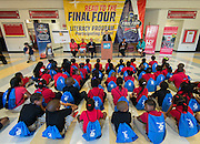 Dr. Andrew Houlihan comments during the Read for the NCAA Final Four kick-off at Blackshear Elementary School, September 24, 2015.