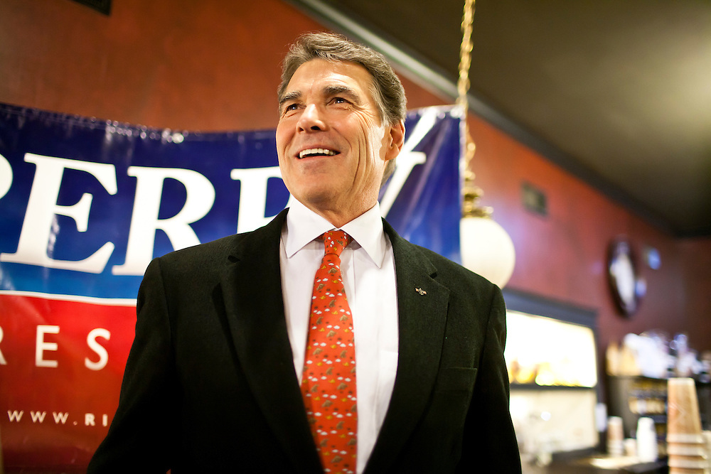 Republican presidential candidate Rick Perry speaks at a campaign meet and greet on Sunday, December 11, 2011 in Ames, IA.